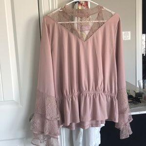 Leith Blush peplum blouse